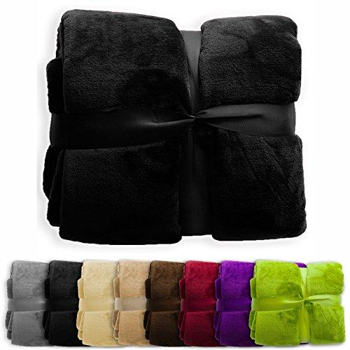 XXL Decke Glory | uni schwarz | super weiche Wohndecke / Kuscheldecke | 2 Größen und 8 Farben verfügbar | 220x240cm (Großes Kissen Für Die Couch)