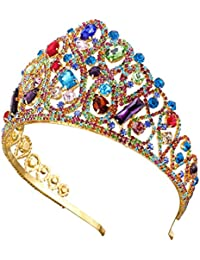 Santfe - Tiara para Novia DE 8,9 cm de Alto con Corona de Cristal, Color Dorado
