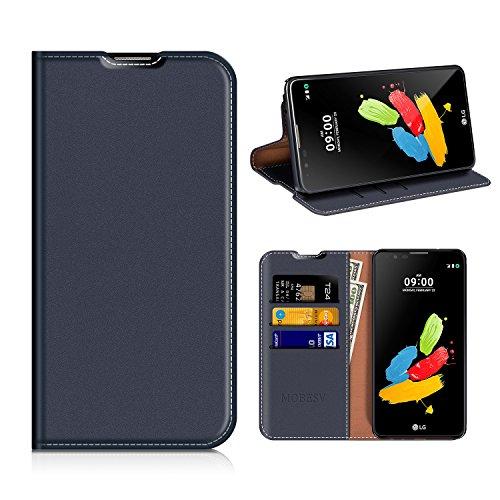 MOBESV LG Stylus 2 Hülle Leder, LG Stylus 2 Tasche Lederhülle/Wallet Case/Ledertasche Handyhülle/Schutzhülle mit Kartenfach für LG Stylus 2 - Dunkel Blau
