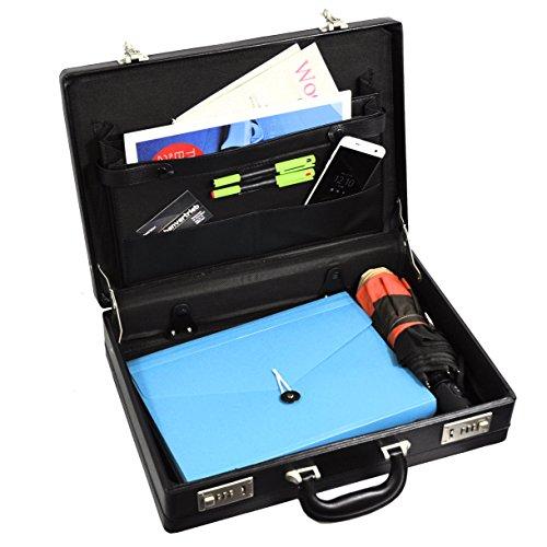Attache Aktenkoffer Aktentasche 2 Zahlenschlösser Dehnfalte (erweiterbar) Kunstleder (Aktenkoffer Attache)