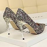Xue Qiqi Leder Silber Spitze des high-heel Schuhe fein mit Farbverlauf einzelne Schuhe weiblichen goldenen Hochzeit Schuhe, 39, Farbe