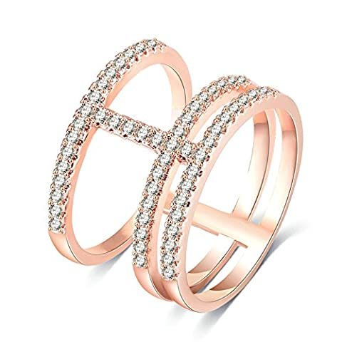 Daesar Damen-Ring Rose Gold 3 Reihe Zirkonia Weiß Kreis Ringe Vergoldet Edelstahl Partnerschaftsringe Trauringe Verlobungsring Größe 62 (19.7)