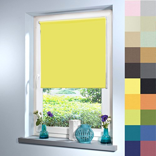 Tageslicht Rollo nach Maß, hochqualitative Wertarbeit, alle Größen und 21 Farben verfügbar, Rollo nach Maß, für Fenster und Türen, blickdicht, Klemmfix ohne Bohren (220cm Höhe x 30cm Breite / Gelb)