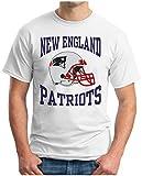 OM3® - New England Football - T-Shirt | Herren | American Football Shirt | 3XL, Weiß