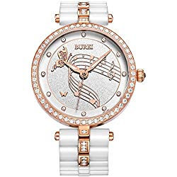 BUREI Women Fashion White Ceramic Watches with Rose Gold Crystal Watch Case and Band Link Remover