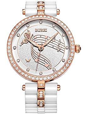 BUREI Damen Fashion Weißem Keramik Armbanduhr mit Rose Goldenen Kristalluhrengehäuse und Uhrkette Remover