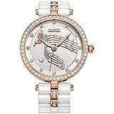 BUREI Elegante Damen Armbanduhr fürs Kleid mit Diamantkristall Gehäuse und Keramikarmband (Weiß - Roségold)