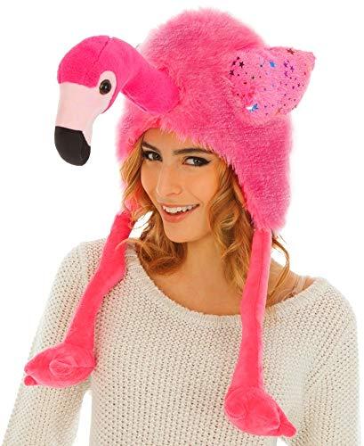 Chaks Tier Mütze Flamingo Einheitsgröße Erwachsene rosa Hut Fasching Karneval ()