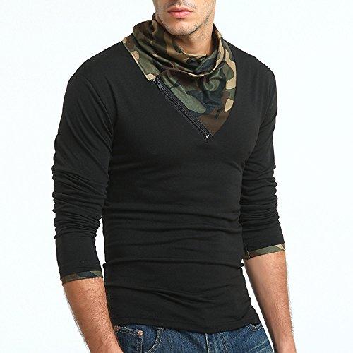 Kinlene Herbst Camouflage Langarm Pullover Reißverschluss Sweatshirts Top Bluse Herren