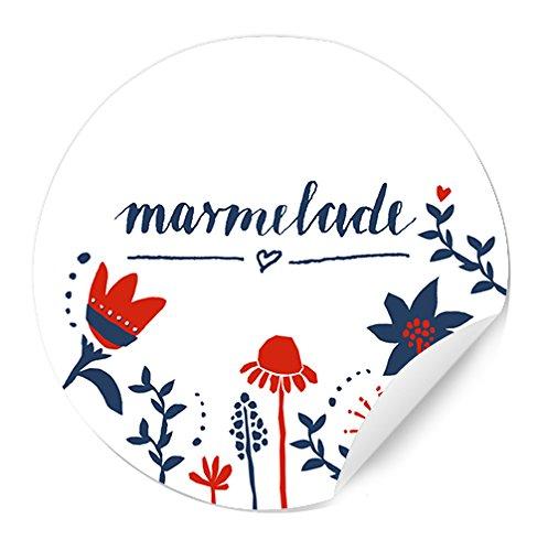 24 Marmeladenetiketten, Papieraufkleber, WEISS, MATT, Vintage Design, Sticker im Retro Look mit Blumen in Rot und Blau, selbstklebende Etiketten für selbstgemachte Marmelade und für Einmachgläser