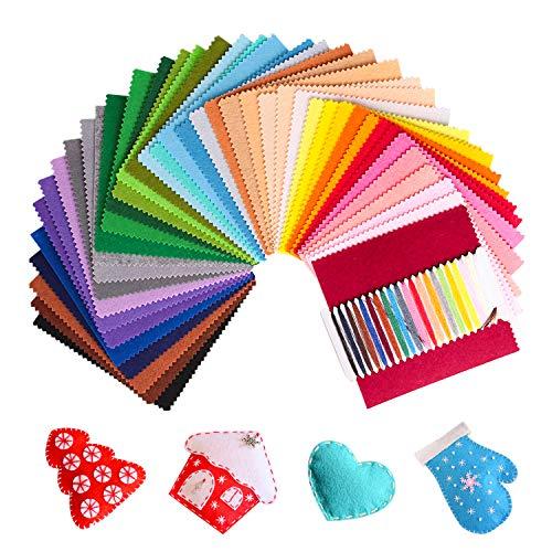 Feltro Colorato SOLEDI Feltro in Fogli 41 Colori 15*15 cm Feltro e Pannolenci Usato per DIY Mestieri per Bambini Protezione Ambientale, Sicura e Non Tossica con Bobina di Filo Tre Dimensioni