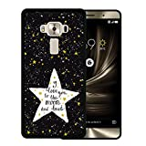 Asus ZenFone 3 Deluxe Hülle, WoowCase Handyhülle Silikon für [ Asus ZenFone 3 Deluxe ] Star Satz - I Love You To The Moon And Back Handytasche Handy Cover Case Schutzhülle Flexible TPU - Schwarz