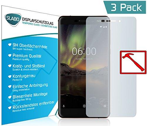 """3 x Slabo PREMIUM Panzerglas Nokia 6 (2018) Echtglas Displayschutzfolie Schutzfolie Folie (verkleinerte Folien, aufgrund der Wölbung des Displays) """"Tempered Glass"""" KLAR - 9H Hartglas"""