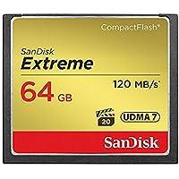 Carte Mémoire CompactFlash SanDisk Extreme UDMA7 64 Go avec une Vitesse de Lecture Allant Jusqu'à 120 Mo/s (SDCFXSB-064G-FFP)