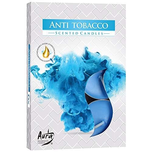 hibuy Duft Teelichter/Duftkerzen - Anti Tabak, gegen Zigarettenrauch - Brenndauer 4 Stunden - 6 Stück