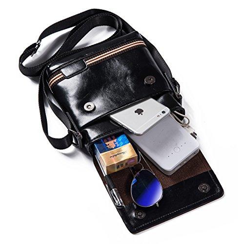 Hengwin Simple Funktionell Herren Leder Kleine Schultertasche Messenger Bag Tasche Umhängetasche für Reise Alltag Outdoor Sports - Schwarz (Herren Umhänge)
