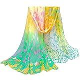OverDose Damen Seidenschals Frauen Blumen Printed Soft Silk Chiffon Schal Wrap Schals Halstuch Tücher Schlauchschal,A-Yellow