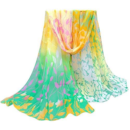 OverDose Damen Seidenschals Frauen Blumen Printed Soft Silk Chiffon Schal Wrap Schals Halstuch Tücher - Wollschal Taschen Mit