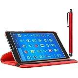 ebestStar - kompatibel Samsung Galaxy Tab 4 8.0 Hülle SM-T330, T331 SM-T335 Rotierend Schutzhülle Etui, Schutz Hülle Ständer, Rotating Case Cover Stand + Stift, Rot [Tab: 210 x 124 x 8mm, 8.0'']