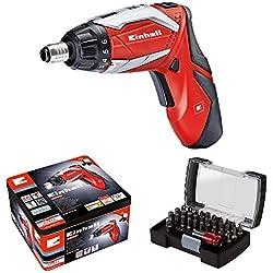 Einhell RT-SD 3,6/2 Li Kit - Atornillador, batería litio (voltaje batería: 3,6 V, capacidad batería: 1,5 Ah, luz LED, 32 piezas) color rojo