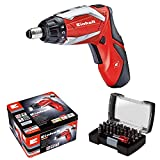Einhell RT-SD 3.6/2 Li Kit Cordless Screwdriver Kit Complete with 32-Piece Bit Box - Red