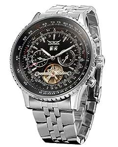 Jaragar Mens Tourbillon Chrongraph Stainless Steel Hand wind Mechanical Watch