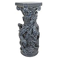 Design Toscano Crypt Demons Gothic Dragon Column, Stone, Grey, 33 x 33 x 82.5 cm