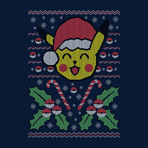 Cloud City 7 Christmas Pokemon Pikachu Knit Pattern Women's Vest Navy blue