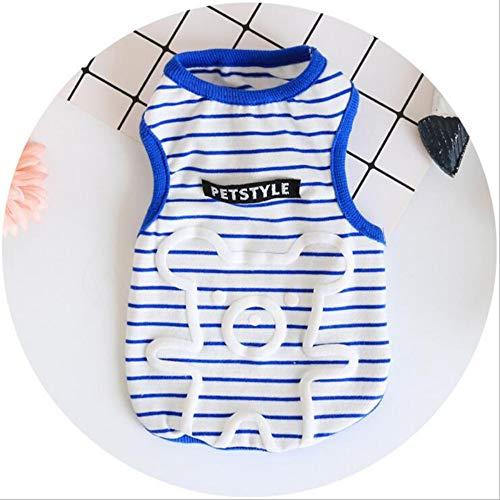 MAJIABEIXIN Kühlweste Cartoon-Stil Puppy Vests Cute Striped Dog T-Shirt Sommer Kühlkleidung für Pet Boy Girl Hunde Katzen No Sleeves Tank Top Kostüm, blau, l