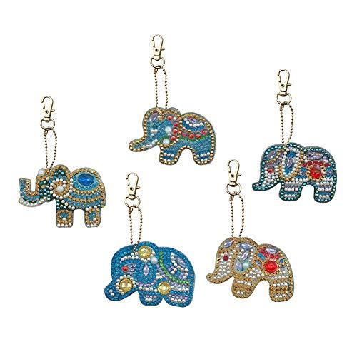 DIY Diamant Malerei Schlüsselanhänger - Full Drill Special Shaped Elephant Keyring Schlüsselanhänger - für Frauen Mädchen Tasche Handtasche Handtasche Telefon Charms Anhänger Geburtstagsgeschenk (Schlüsselanhänger Diamant-ring)