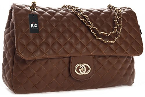 Big Handbag Shop Womens Quilted Twist Lock Shoulder Bag, Tan – Round Clasp, One