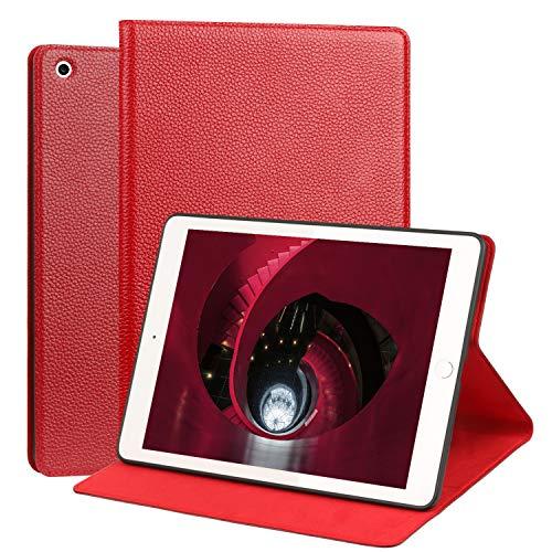 OUVOUV iPad 2018/2017 iPad 9.7 Zoll Hülle,Apple iPad Echt Leder Case Cover smart Rindsleder-Case Tasche Tablet-Case Schutzhülle mit Wake/Sleep Funktion und Standfunktion für iPad 9,7 Zoll,Weinrot (Apple Case Smart 2 Rot Ipad)