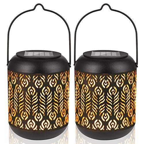 Solar Laterne für Draußen LED Garten Hängende Laternen Dekorative Gartenlaterne Wasserdicht mit Lichtempfindlichkeit für Haustür Veranda Rasen Hof Gehweg Auffahrt (2 Pack)