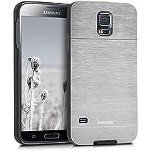 kwmobile Funda rígida de alta calidad para Samsung Galaxy S5 / S5 Neo / S5 LTE+ / S5 Duos con refuerzo de aluminio pulido en la parte trasera en plata