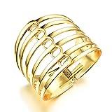 Bracelet Manchette Alliage Femme Ajouré Metal Or Tone Wide Or 17CM -AnaZoz