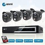 Anni CCTV caméra de surveillance 8CH 1080N Kit AHD DVR avec 4 caméras 1080p 2.0MP Outdoor Kit de Vidéosurveillance, alarme de capteur de gaz intégré, détection de corps PIR, Siren Sounds, vision nocturne, with 1TB HDD