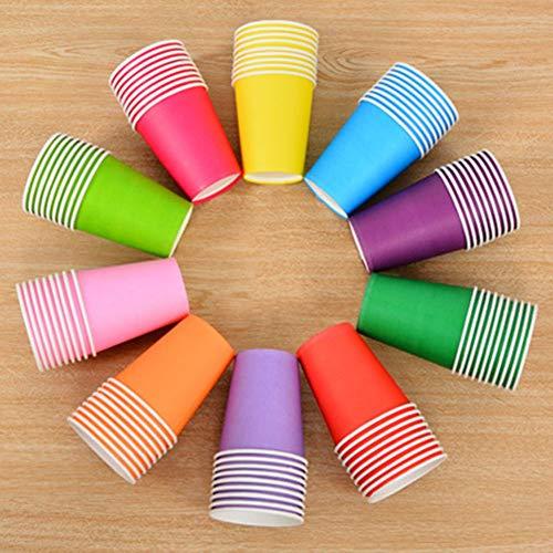 Makwes 100 Stück Pappbecher Einweg Papier Heißer Kaffee Tee Trinkbecher Farbe Pappbecher für DIY Party 250 ML, Bastel- & Malmaterialien,DIY Handgemachte Materialien(Zufällige Mehrfachfarben)