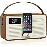 View Quest VQ-RETROMKII-BR Retro MKII DAB+ Radio mit Lightning-Dock, Bluetooth Braun