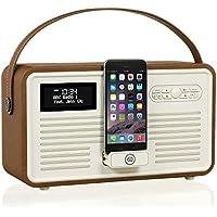 VQ Retro Mk II DAB/DAB+ Digital- und FM-Radio mit Bluetooth, Apple Lightning Dock und Weckfunktion - Braun
