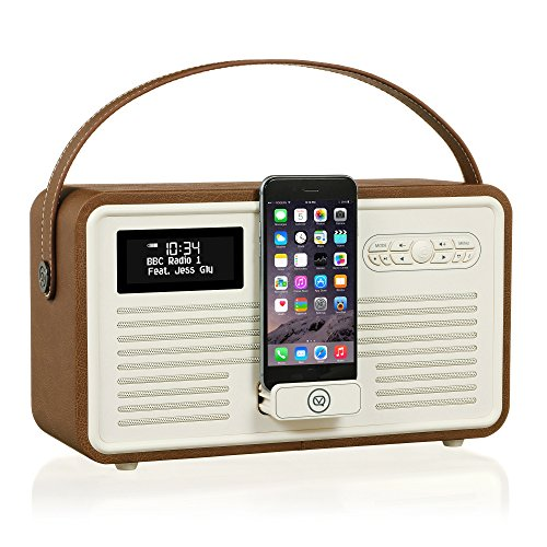 VQ Retro Mk II DAB/DAB+ Digital- und FM-Radio mit Bluetooth, Apple Lightning Dock und Weckfunktion - Braun (Beste Iphone Radiowecker)