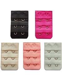 MYZA Women's Cotton 2 Hook 2 Eye Bra Strap Extender(RIOE-BE-N2C-03_Multicolour_Free Size) - Pack of 5