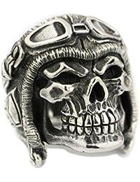 LINSION LISNION 925 Sterling Silver Huge Heavy Pilot Skull Helmet Mens Biker Punk Ring TA65