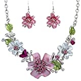 Hosaire New Fashion Flowers Necklace Earrings Diamond Crystal Elegant Women Jewellery Set of Crystal Pendant Necklace+Earrings