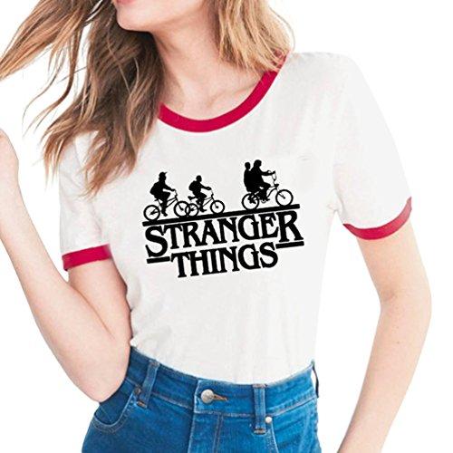 Yuanu Mujer Cómodo Transpirable Manga Corta Cuello Redondo Slim Camiseta Amantes Tamaño Grande Casual T-Shirt con Temática Impresión Sobre Stranger Things Impresión Estilo 10 M