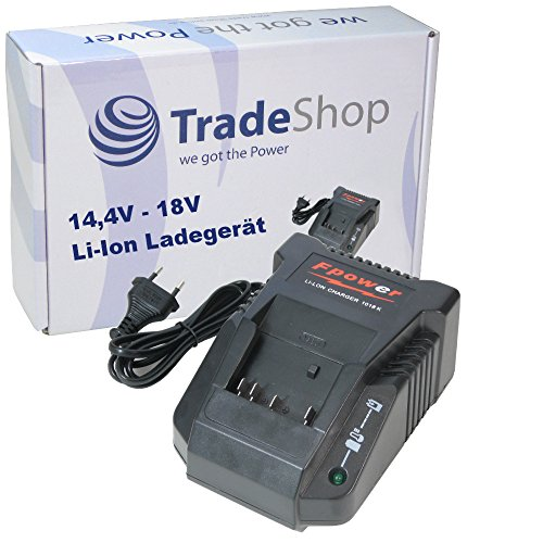 Trade-Shop Akku Ladegerät für 14,4V - 18V Li-Ion Akkus Ladestation Schnellladegerät für BoschGSR 18 VE-2-LI GSR 18 V-LI GSR 18-2-LI GWS 18 V-LI Bosch GML Soundbox GML20 Baustellen Radio GML50 Baustellen Radio Würth Akkuschrauber BS 18V Signode 14.4V Signode 18V