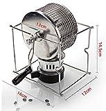Eleoption Manual Kitchen Coffee Roaster Machine Roller baking machine w/ Alcohol burner