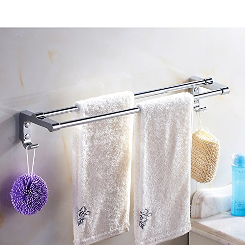 stainless steel double towel rackpadded with hook towel rack bathroom accessories j - Bathroom Accessories Dubai