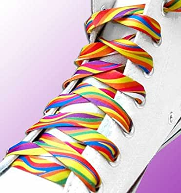 Lacets de chaussures décorés lignes multicolores