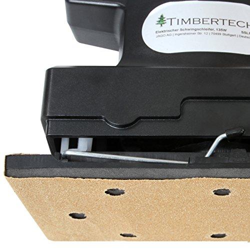 Timbertech Schwingschleifer mit 135 Watt Leistung ergeben eine Drehzahl von ca. 11.000 U/min im Leerlauf