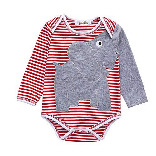 feiXIANG Neugeborene Einteiliger Spielanzug Kleidung Jungen Cartoon Elefanten Streifen Drucken Romper (Rot,86)